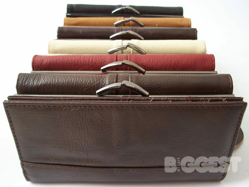 Ladies Large Leather Purse Wallet Clasp Coin Section In 6