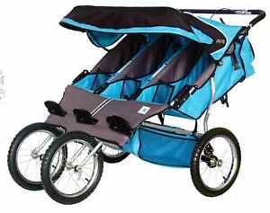 BebeLove-475-EVO-TS-Triple-Baby-Jogging-Stroller-Blue