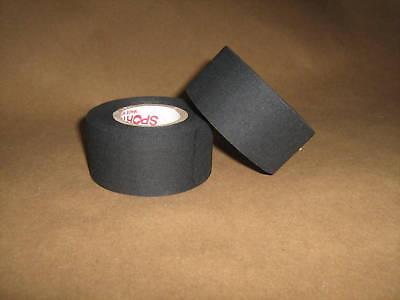 "2 Rolls of Sports Tape Black Cloth Hockey Stick Tape 1.5"" Pro Quality 1.5"" X13m"