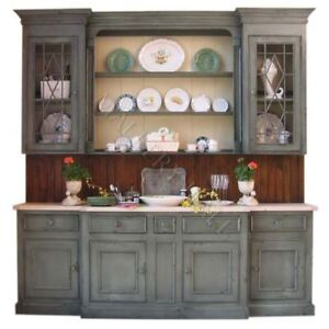 Custom Hand Painted French Country China Cabinet Hutch As