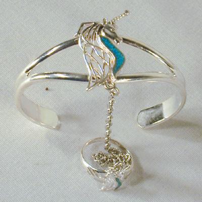 Silver Unicorn Slave Bracelet 03 Fashion Jewelry Ring Silver Women Set
