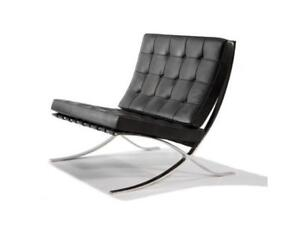 Eames black barcelona single leather sofa arm chair for Designer furniture replica malaysia