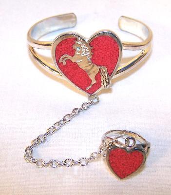 Silver Unicorn Heart Slave Bracelet 67 Cuff Ring Women Girls Set