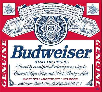 Budweiser Vinyl Sticker Decal 14 (full Color)