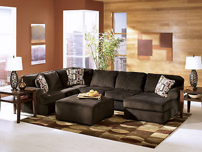 MORRIS - CONTEMPORARY CHOCOLATE MICROFIBER SOFA COUCH SECTIONAL SET LIVING ROOM