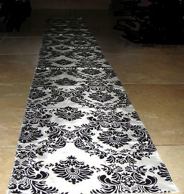 damask taffeta wedding aisle runner black white flocked 3d fabric