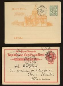 BRAZIL-1885-1910-STATIONERY-CARDS-4-ITEMS