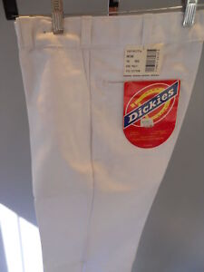 Nos Vintage Dickies Made In USA White Work Pants Trousers Slacks Retro Chef 18