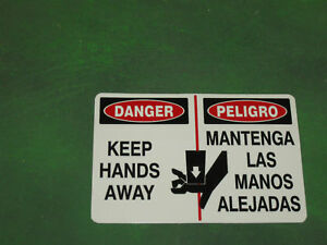 DANGER KEEP HANDS AWAY SAFETY DECAL STICKER, FREE SHIPPING Lot of 5