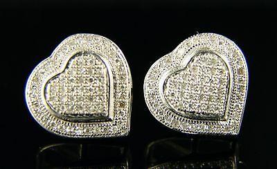 Womens Double Heart Pave Diamond 14 Mm Stud Earrings on Sale