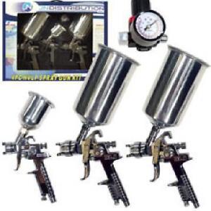 3pc stainless hvlp air gravity feed spray paint guns for Spray gun for oil based paints
