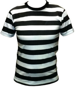 Mens-Black-and-White-Striped-T-Shirt-S-M-L-XL