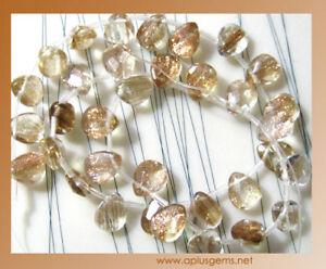 12x16mm-Gold-Sand-Quartz-Flat-Faceted-Briolette-Beads-NEW