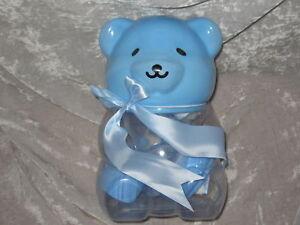 12 pc Gift Set Baby Bank Bottle Bib Teddy Bear Blue NEW