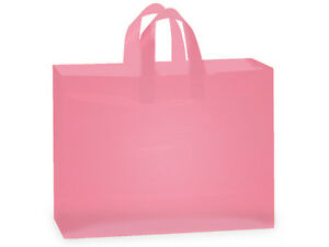 """PINK"" frosted shopping bags (100 VOGUE 16X6X12)"