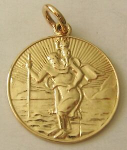 LARGE  GENUINE  9ct  9K  SOLID  Gold  ST CHRISTOPHER  Pendant/Medal