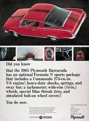 1965 PLYMOUTH BARRACUDA - FORMULA 'S' PACKAGE 273 ~ ORIGINAL MUSCLE CAR AD