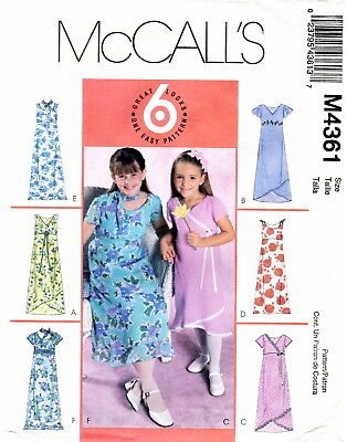 Mccalls M4361 Girls Lined Dresses & Scarf Sewing Pattern