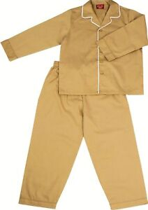 PYJAMA-SUIT-SLEEPWEAR-100-COTTON-5-10-YRS-NEW-khaki-with-white-piping