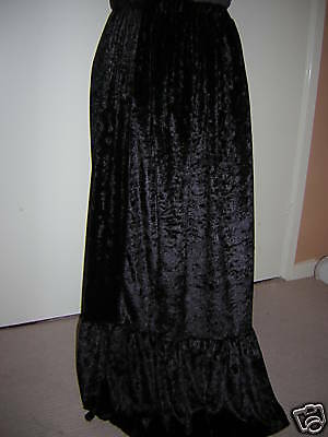 Black Velvet Custom Made Long Skirt 10 12 14 16 18 20 22 24 26 28 30 32 34 36