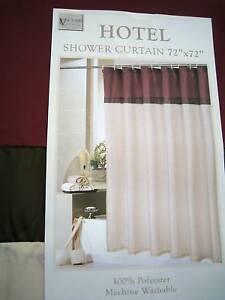 Cranberry Burgundy Wine Brown Beige Stripe Shower Curtain
