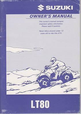 1996 Suzuki Atv 4 Wheeler Lt80 Owners Manual