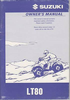 1996 Suzuki Atv 4 Wheeler Lt80 Owners Manual