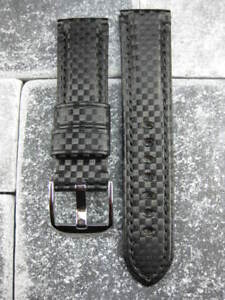 NEW 22mm Black CARBON FIBER Leather Strap Watch Band for MONTBLANC