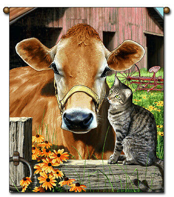 27x36 Cow And Cat Farm Animal Tapestry Wall Hanging