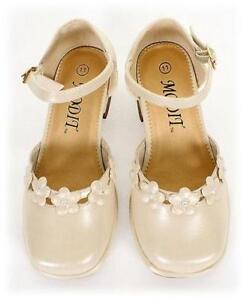 GIRLS-DRESS-SHOES-Wedding-Pageant-TODDLERS-amp-KIDS-Ivory