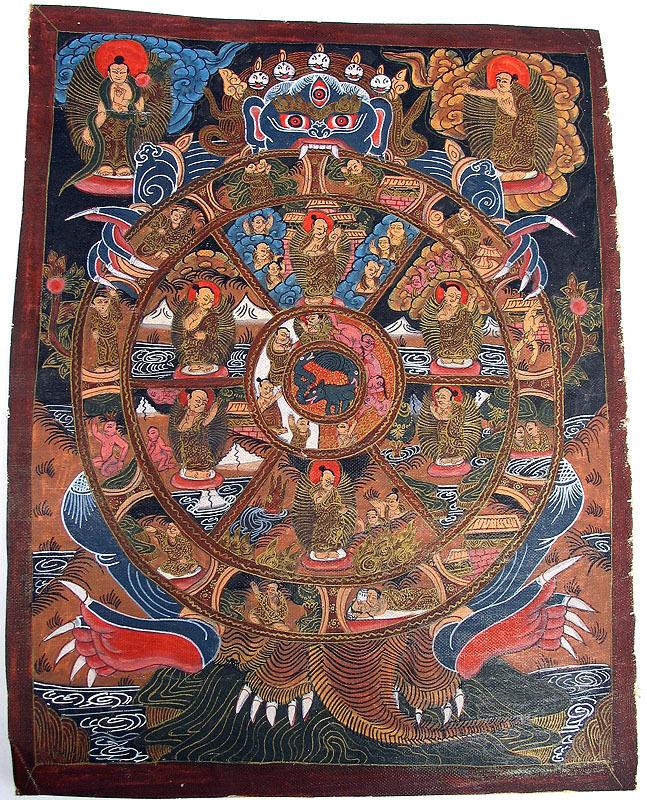 TIBET OR NEPAL OIL ON CANVAS BUDDHIST WHEEL PAINTING