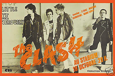 1970's Punk London Calling: The Clash at  Paris France Concert Poster 1979