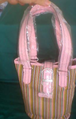 PINK Sisters Stripe Bucket Handbag Purse Leather Trim Tote Longaberger NEW