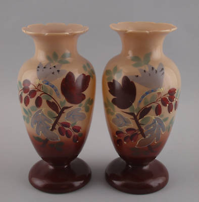 """Decorative Arts Other Antique Glass Hard-Working Vases Pair Opaline Glass """"dragonfly"""" Late Biedermeier 99835364"""