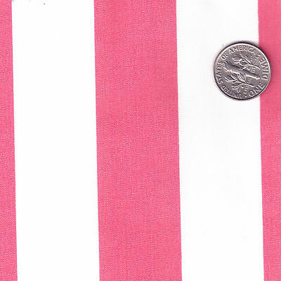 POLY-COTTON-CLOTH-FABRIC-BIG-STRIPE-RED-GREEN-PINK-BLUE
