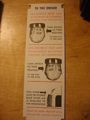 1940 Ford Car Hot Water Heater Instruction Tag