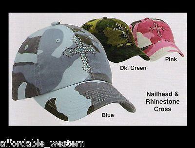 Pink Blue Green Camouflage Camo Ball Cap Crystal Cross Woman Girl 81