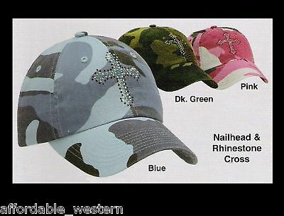Pink Blue Green Camouflage Camo Ball Cap Crystal Cross Woman Girl 81