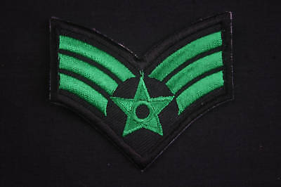 Ecusson Brodé - PATCH Thermocollant - 3 GALONS / VERT / 6,7x6cm / ARMEE / ARMY