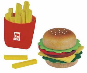 hamburger pommes set kinderk che burger holz i m toy ebay. Black Bedroom Furniture Sets. Home Design Ideas