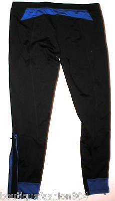NWT PH8 bebe Pants Yoga Workout L Womens Black Zip Blue Running New Pilates