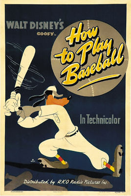How to play baseball Goofy Disney cult Movie cartoon poster print on Rummage