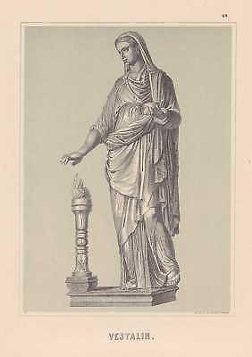 Vestalin Priesterin Römer Antike LITHOGRAPHIE von 1882