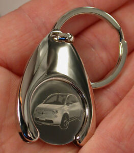Fiat New 500 EKW Schlüsselanhänger Gravur Keyring