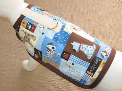 Brown And Blue Flannel Dog Harness Clothes Coat