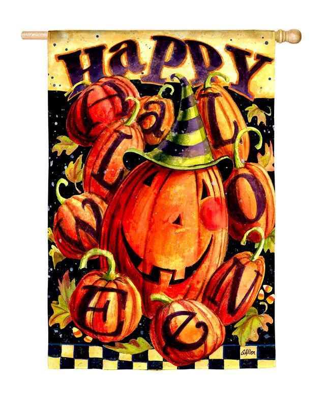 Fall Happy Halloween Pumpkins Mini Garden Flag