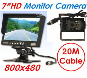 7-Monitor-LCD-12V-24V-Reversing-Rearview-CCD-Camera-Truck-Caravan-Car-4PIN-Kit