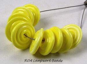 ROA-Lampwork-10-Lemon-Yellow-Disc-Art-Glass-Beads-SRA