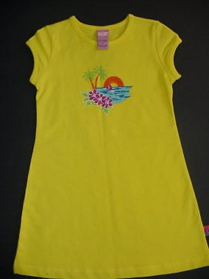Girls Summer Tropical Dress Size 5 Cotton Spandex Yellow Sundress Spring