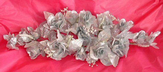 Silver Swag Silk Wedding Flowers Centerpiece Arch Decoration 25th Anniversary
